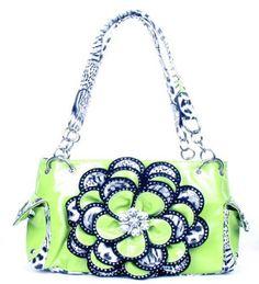 Crystal Leaf Lime Green Leopard Rhinestone Flower Handbag - Handbags, Bling & More!