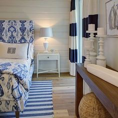 Blue and white bedroom. Striped drapes, Blue and white stripes, upholstered headboard, wood walls. W Design Interiors. click now for info. Interior, Home Bedroom, Chic Beach House, Beach House Decor, Bedroom Design, Home Decor, Luxury Interior Design, Beach House Bedroom, Interior Design