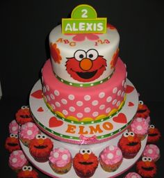 I Like This Too But The Pink Needs To Be Brighter Cute Elmo Cake First Birthday2nd