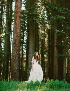 Intimate Yosemite Wedding with off-the-shoulder boho wedding dress