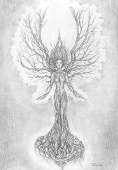 ideas mother nature art goddesses tree woman for 2019 Tatoo Nature, Nature Tattoos, Body Art Tattoos, Fantasy Kunst, Fantasy Art, Tatoo Tree, Goddess Tattoo, Tree Tattoo Designs, Tattoo Ideas