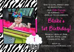 Hot Pink Zebra Print Cupcake 1st Birthday Chalkboard Invitation - Printable or Printed
