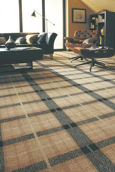 Axminster Carpets - Natural Plaid in Cormorant Plaid Living Room, Living Room Carpet, Tartan Carpet, Axminster Carpets, Floor Finishes, Patterned Carpet, Colour Schemes, Lounge, House Design