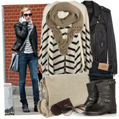 stripes, leather jacket, combat boots, and adorable scarf