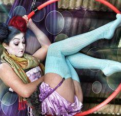 Flightless bird. #Vaudeville #thighhighs #socks #blue #hoopdance #burlesque #rock #steampunk