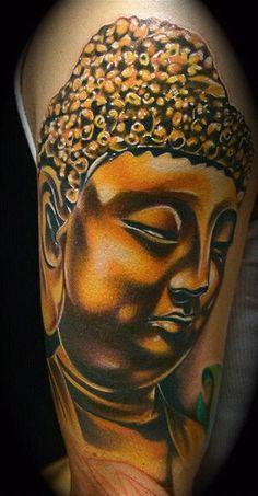 Golden #Buddha #tattoo on arm - #tattoos