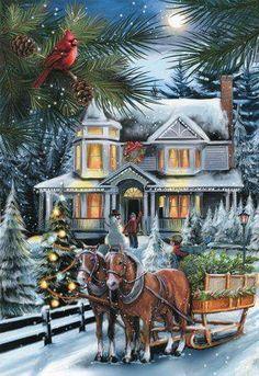 You put horses, Christmas trees, big beautiful homes, and snow.and it is Christmas to me♥♥ Christmas Scenes, Christmas Past, Christmas Greetings, Winter Christmas, Christmas Crafts, Christmas Decorations, Xmas, Vintage Christmas Images, Victorian Christmas