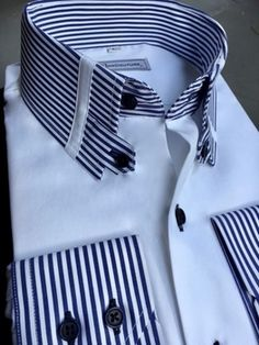 MorCouture Menswear Other - MorCouture Striped Tab Collar Shirt Muslim Men Clothing, Bespoke Clothing, High Collar Shirts, Shirt Collar Styles, Stylish Shirts, Cool Shirts, Casual Shirts, Collar Designs, Shirt Designs