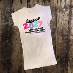 Personalized Class of 2027 Kicking it Off 2nd Grade Style Shirt with Bow