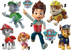 PAW PATROL STICKER WALL DECO or IRON ON TRANSFER T-SHIRT RYDER CHASE SKYE