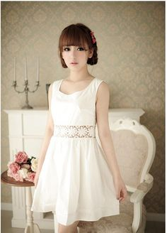 Women's White Dress With Openwork Waist and Sleeveless Scoop Neck (WHITE) China Wholesale - Sammydress.com