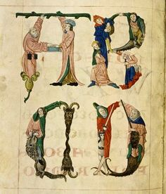 Page d'un cahier d'exemples de lettres pour les manuscrits enluminés.