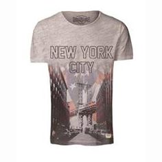 T-shirt ny flag estampada, gola redonda Jack & Jones | La Redoute