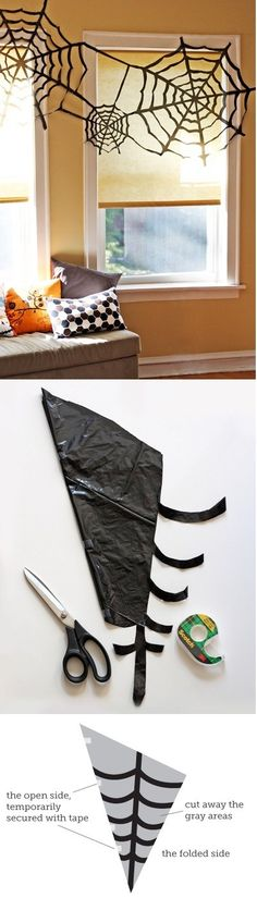 Incy Wincy spider web, built by http://howaboutorange.blogspot.com/2011/10/cheap-trash-bag-halloween-decorating.html