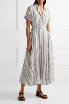 Theory - Avink Striped Crinkled Cotton And Silk-blend Midi Dress - Cream - US12