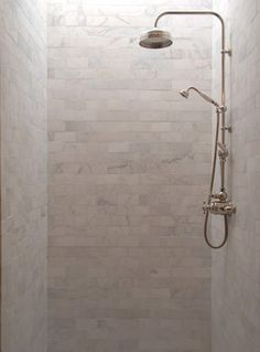 Marble Subway Tile Shower Stall - traditional - Bathroom - New York - Fiorano Tile Showrooms