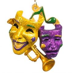 HOLIDAYS R US Comedy Tragedy Masks Trumpet Christmas Mardi Gras Jazz Holiday  Ornament New Orleans Cajun 3dce8bcca26a