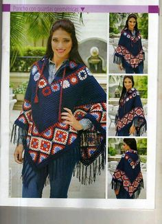 (2) La profe de San Mateo Crochet Poncho Patterns, Crochet Jacket, Knitted Poncho, Knit Or Crochet, Knitted Shawls, Crochet Shawl, Hippie Crochet, Clothes Crafts, Drops Design
