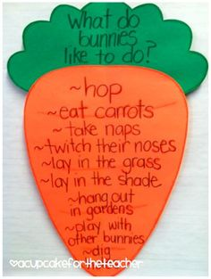 What bunnies and rabbits do carrot shaped anchor chart for kindergarten or first grade classroom. Perfect for spring, Easter, or animal unit. April Preschool, Preschool Themes, Easter Activities, Spring Activities, Classroom Activities, Classroom Charts, Book Activities, Classroom Ideas, Easter Projects