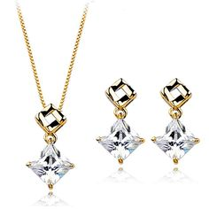 Dangling Swarovski Elements Crystal Pendant Necklace and Earrings Set, Rose Gold Plated Jewellery >>> For more information, visit image link.