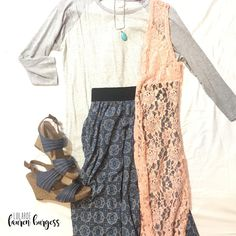 These three pieces make such an easy outfit--- layer a casual, baseball style Randy tee with a chiffon Lucy Skirt. Topped with a lace LuLaRoe Joy vest, you're ready to with a great outfit boasting both beautiful textures and great colors!! // Facebook:LuLaRoe Lauren Burgess