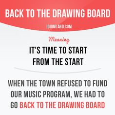 """Back to the drawing board"" means ""it's time to start from the start"". Example…"