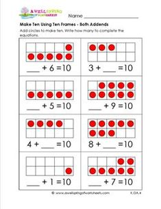 Make 10 Using Ten Frames - Here's another way to practice adding up to 10 - ten frames! Red circles are provided. Have kids color more circles to add. A set of 6 worksheets with 8 problems per page. Free Math Worksheets, Kindergarten Math Worksheets, Math Resources, In Kindergarten, Math Activities, Maths, Addition Worksheets, Math Games, Ten Frame Activities