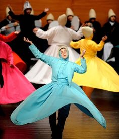 """The Sufi way is through knowledge and practice, not through intellect and… Whirling Dervish, Woman Singing, Muslim Hijab, Turkish Art, Shall We Dance, Islamic Fashion, Irish Dance, Muslim Women, Islamic Art"