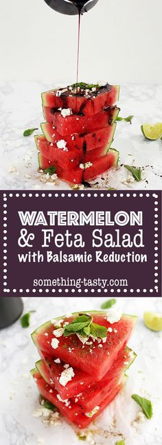 This cooling, colourful and refreshing Watermelon and Feta Salad with Balsamic Reduction is the perfect light alternative to a hot, hearty meal during a warm summers day. Watermelon And Feta, Balsamic Reduction, Hearty Meal, Feta Salad, Alternative, Vegetarian, Tasty, Stuffed Peppers, Warm