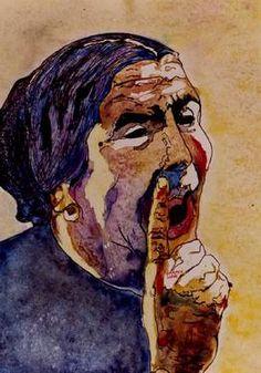 """Artist: CARMEN LUNA; Watercolor 1997 Painting """"9-FLAMENCO. Maria La Perrata."""""""