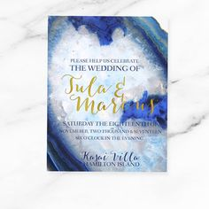 Printable modern wedding invitation agate crystal watercolour beach wedding pretty gold foil blue white PRINTABLE DIY wedding invitation.