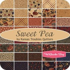 Sweet Pea Charm PackKansas Troubles Quilters for Moda Fabrics - Charm Packs & Squares | Fat Quarter Shop