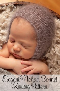 Knitting Pattern - An elegant mohair knit baby bonnet pattern. Perfect for everyday wear or as a photo prop. By Posh Patterns.