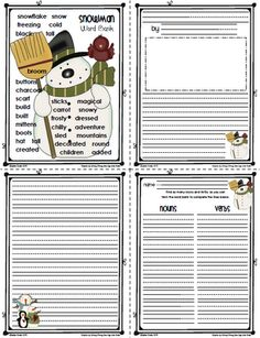 Snowman Word Bank, Writing Paper   and Parts of Speech Word Sort