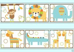 baby jungle zoo and woodland animals wallpaper border wall decals