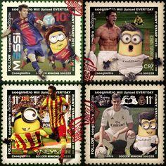 Minions futbolistas: Leo Messi, Neymar, Cristiano Ronaldo y Gareth Bale.