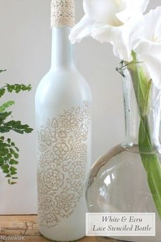 85 best diy glassware images on pinterest bricolage do it etceteras white ecru lace stenciled bottle solutioingenieria Image collections
