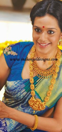 Gold and Diamond jewellery designs: temple jewellery