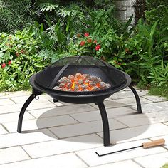 awesome VonHaus Fire Pit Folding Garden BBQ Bowl Outdoor Camping Log Charcoal Patio Heater + FREE Carry Bag