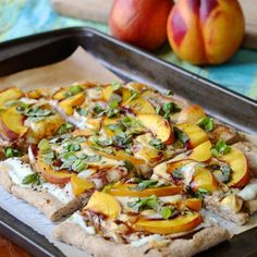 Nectarine and Prosciutto Pizza with Basil and Honey Balsamic Reduction - summer delight!