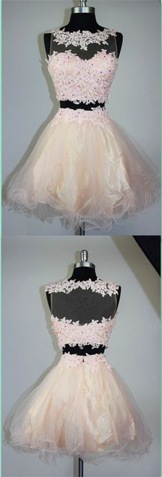 Two Pieces Appliques Homecoming Dresses,Short Prom Dresses,Cocktail Dress,Homecoming Dress,Graduation Dress,Party Dress,Short Homecoming Dress
