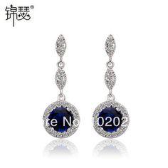 Blue Austrian crystal Earrings Wholesale Fashion High quality Multi AAA Zircon 18k Gold-plated Dangle Earrings for Women TE02