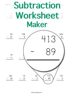 Subtraction Worksheet  Customizable And Printable  Math Stem