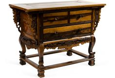 Antique Colonial kamagong wood commode from Batangas, Philippines.