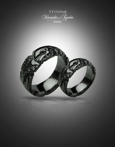 BLACK GIGER  Biomechanical Wedding Bands gothic silver por TYVODAR