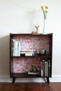 bookshelves- love the wallpaper idea