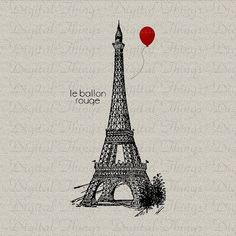 Eiffel Tower French Red Balloon Print Printable Digital Download for Iron on Transfer Fabric Pillows Tea Towels DT1219