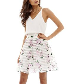 Loving this Cream & Pink Floral A-Line Dress on #zulily! #zulilyfinds
