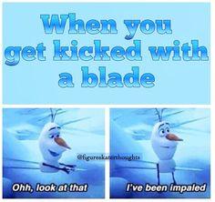 Funny ice figure skating meme... Olaf always makes memes better