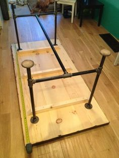 DYI Table W/ Pipe Legs And A Place To Put Your Feet Up. Could Work Well An  Art Studio